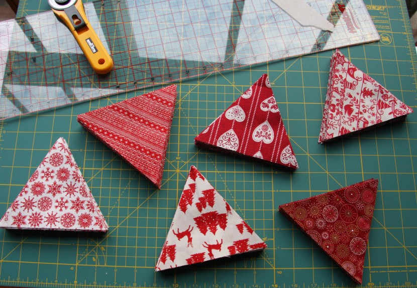 Festive fabric selection in reds.