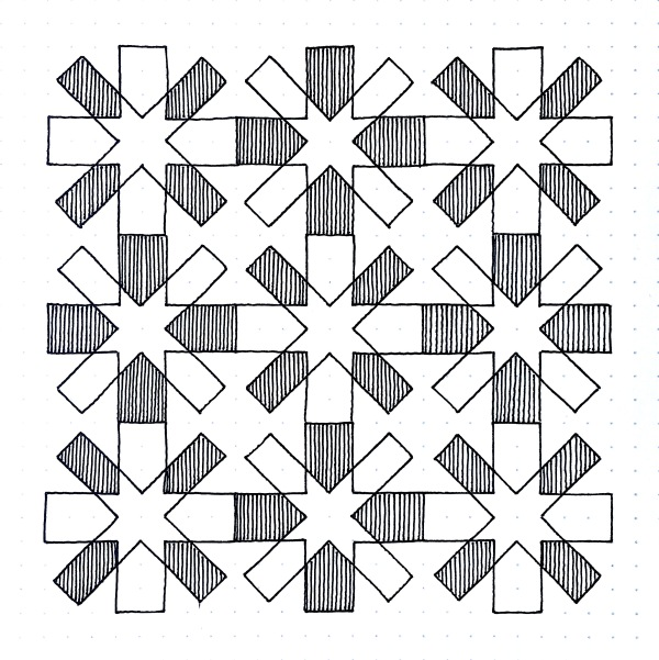 Geometriquilt: Sunday sketch #100-2